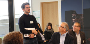 Kasimir Forth (l.) visiting the DGNB certified project ESO Supernova in Munich as part of a member event.