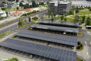 PV panels mounted on parking lot roofs