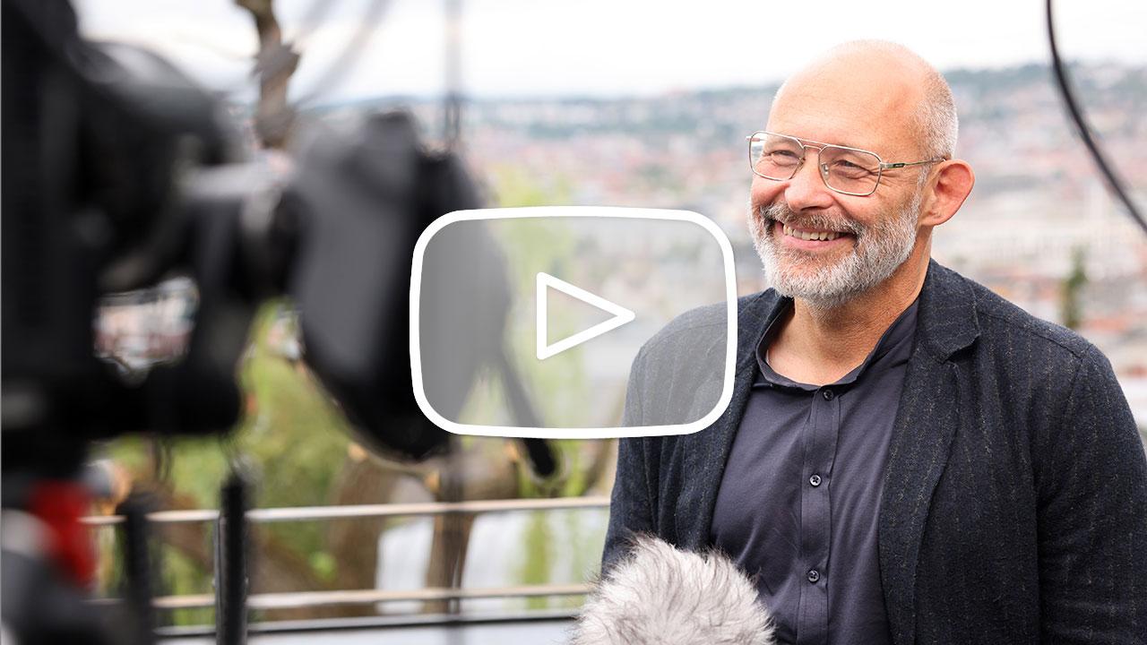 Bernd Liebel (Liebel Architekten BDA) and Wolfgang Steidle (Mayor of Aalen) being interviewed at the DGNB Sustainability Day on 1 July 2021.