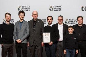 Reinhold Müller, im Bild rechts, mit den weiteren Projektverantwortlichen bei der Verleihung des German Design Award 2016