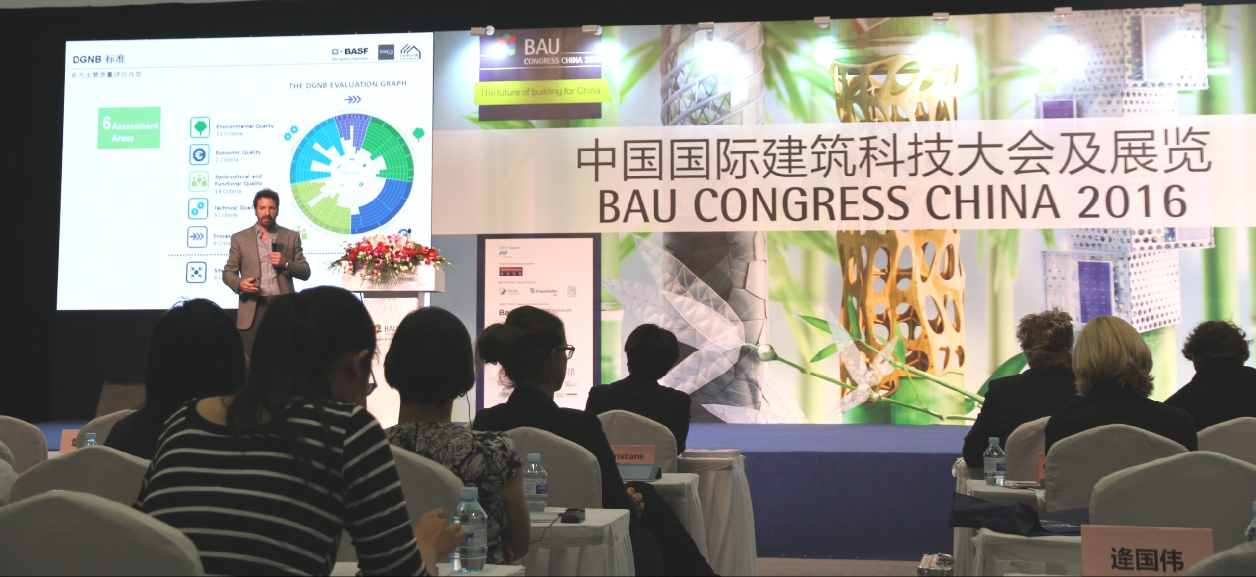 Rolf Demmler presenting the DGNB pre-certified BASF R&D Center during BAU Congress China 2016