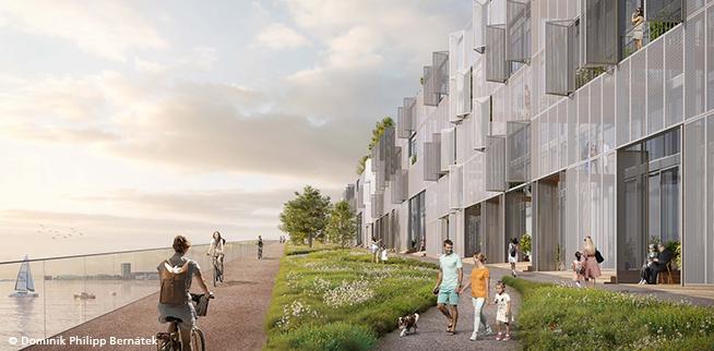 """Wohngebiet, Parkanlage, Fahrrad- und Fußgängerbrücke: Die Idee der """"Living Bridge Amsterdam"""" ist alles in einem."""