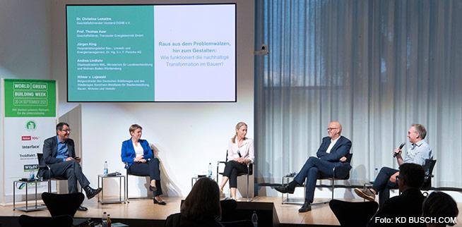 Die Podiumsgäste der DGNB Auftaktveranstaltung zur World Green Building Week 2021